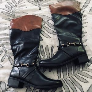 Black and Tan Knee High Riding Boots